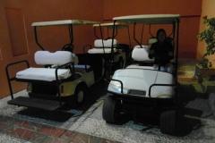 Вот такие гольф-кары передвигаются по территории. Далеко не уехать, много ступенек