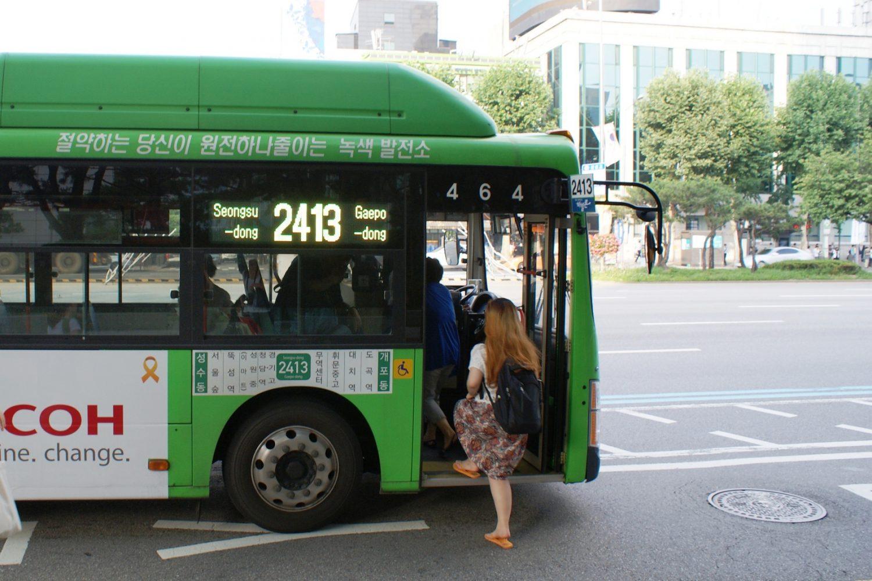 Зеленый автобус в Сеуле