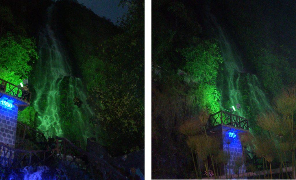 Вид на водопад. Вечером особенно завораживает