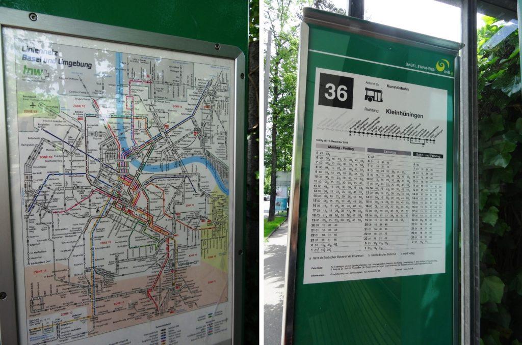 На остановках - общая схема движения транспорта по Базелю и расписания тех автобусов или трамваев, которые здесь проходят