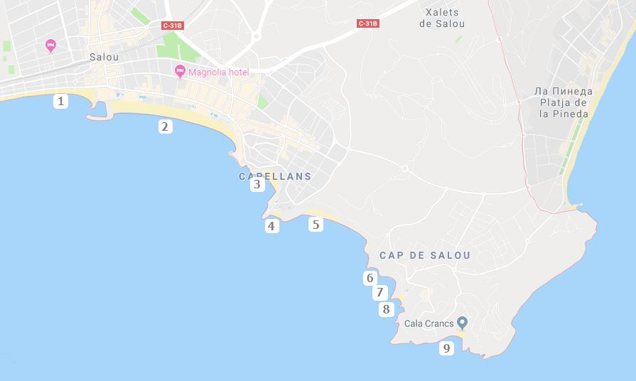 Схема пляжей в Салоу