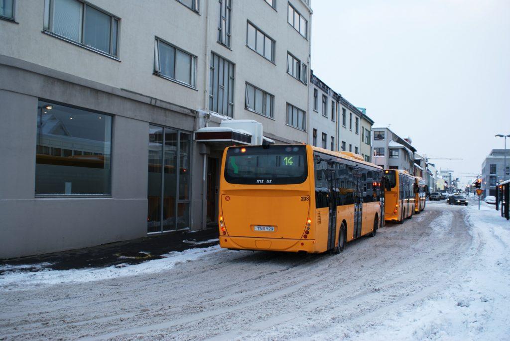 Среди белой пустоты бегают вот такие яркие автобусы