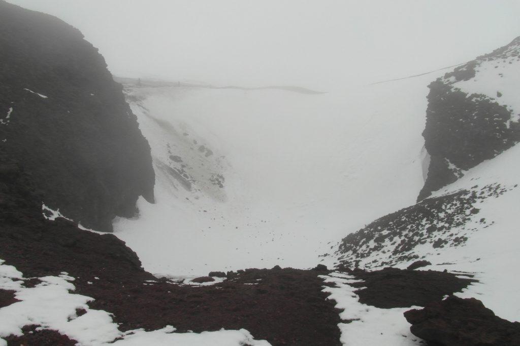 Кратер Этны в тумане