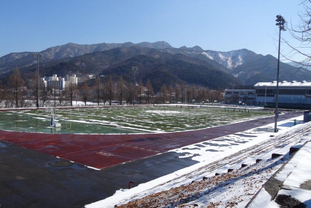 Вот такое у студентов футбольное поле
