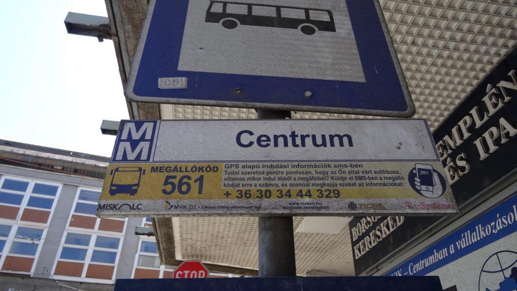 Остановка Centrum, откуда уходит автобус к купальням