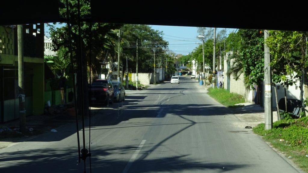 На пути в Четумаль. Грустный факт: о лобовое стекло автобуса за время поездки ударяются десятки малюсеньких птичек, часть из которых разбивается. К прибытию оно все в пятнышках... А пока ничего