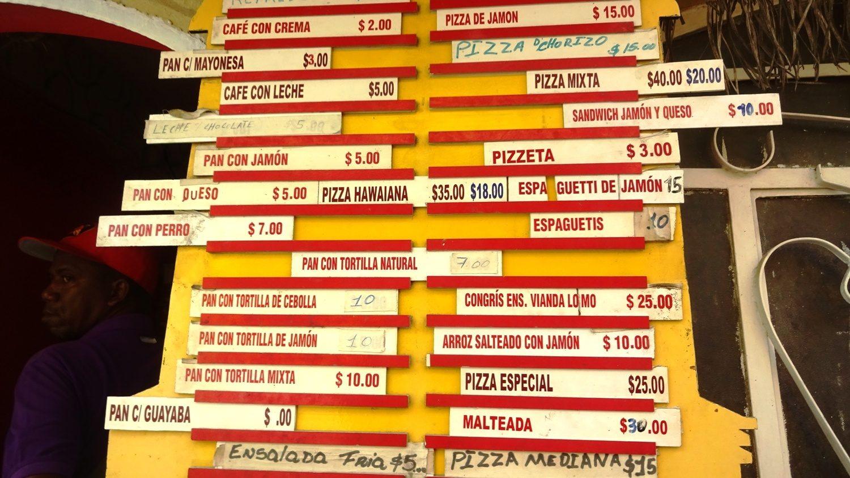 Цены в местных песо. 1 песо - примерно 2,5 рубля