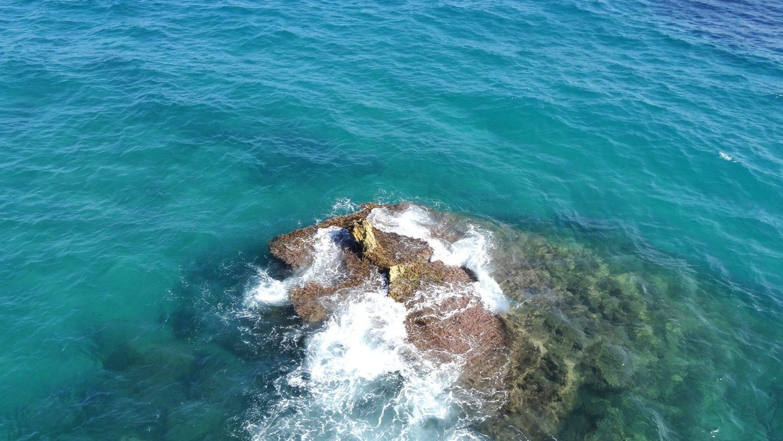 Кое-где из воды торчат камни, о них разбиваются волны