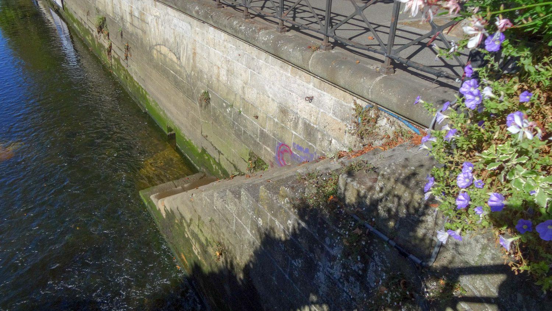 В реку Оде спускаются вот такие лесенки. Купаться вряд ли кто-то рискнет, но я видела людей, сидящих на ступенях