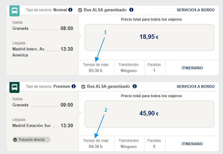 Отличия не только в наборе услуг: 1 – обычный автобус идет 5,5 часов (и делает одну остановку); 2 – Premium – 4,5 часа (без остановок)