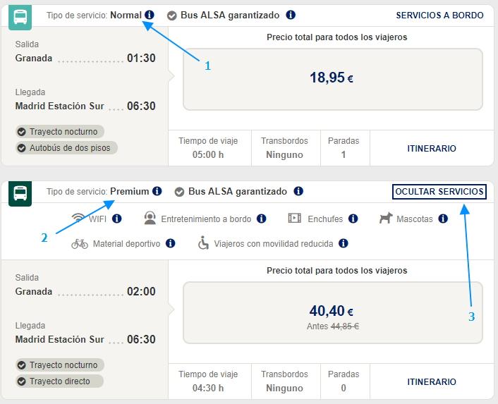 Различные классы автобусов в поиске: 1 – Normal; 2 – Premium; 3 – возможность посмотреть набор услуг на борту