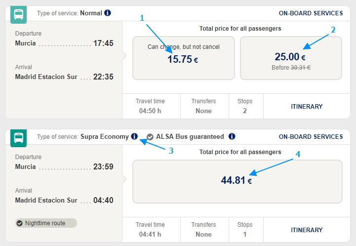 Варианты цен: 1 – цена по акции в обычном автобусе (в данном примере билеты нельзя сдать); 2 – цена обычного сдаваемого билета; 3 – указание на класс автобуса (Supra Economy); 4 – цена в Supra Economy