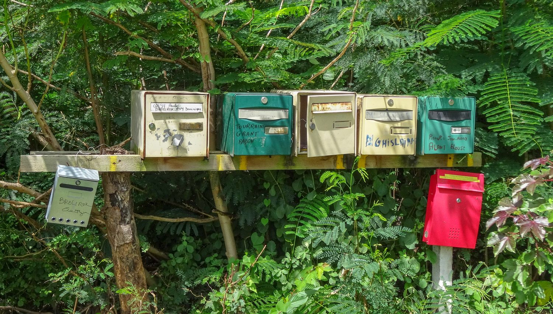 Почтовые ящики тут часто стоят кучками у развилки или общей дороги к нескольким домам