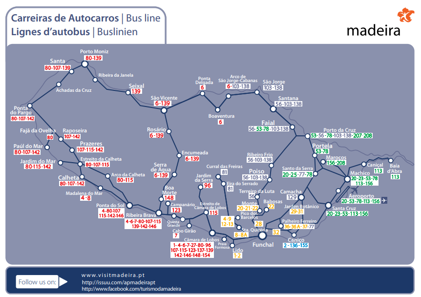 Схема автобусов Мадейры