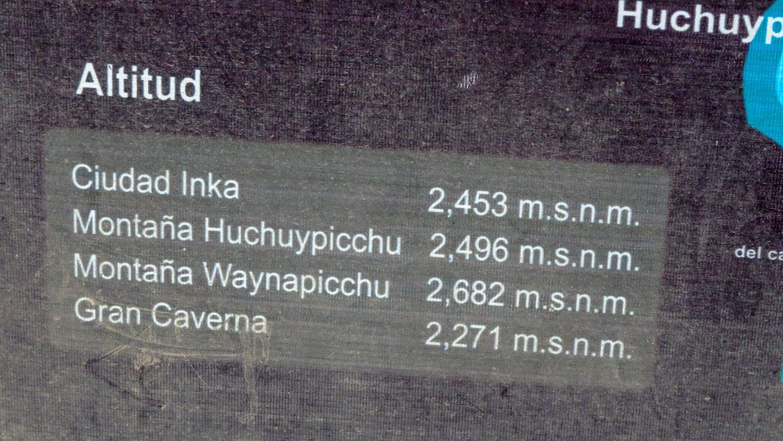 Уайна-Пикчу. Высота