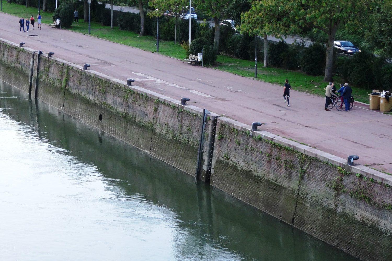 Набережная Сены. Лесенка в реку и никаких ограждений, как это часто бывает в Европе
