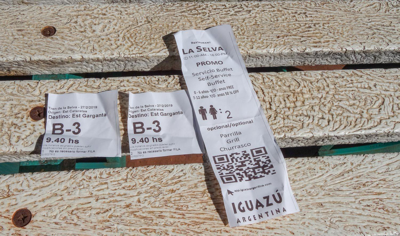 Билет на поезд внутри парка