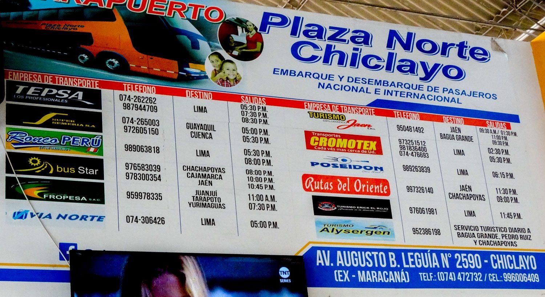 Расписание автобусов из Чиклайо в Лиму
