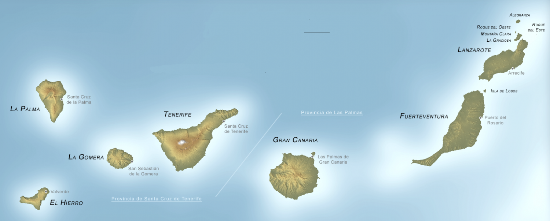 Канарские острова на карте