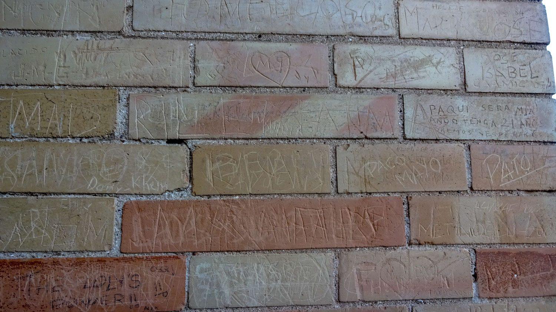А это стена из кирпича разного цвета (к сожалению, исцарапанная!)