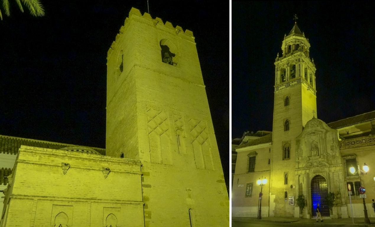 Башни в свете фонарей