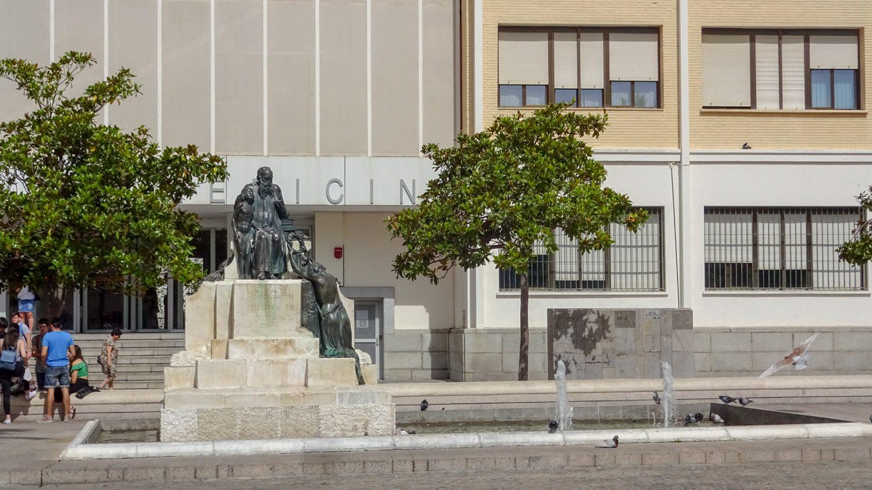 На площади у Большого театра Фалья и факультета медицины Кадисского университета