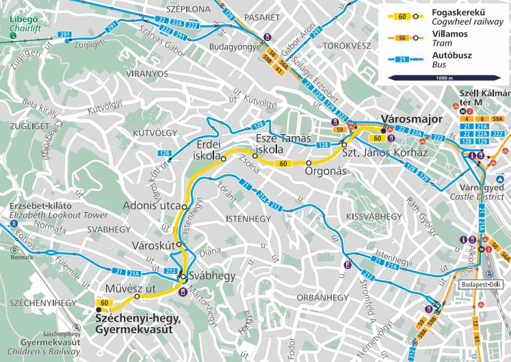 Маршрут движения по зубчатой железной дороге с сайта bkk.hu