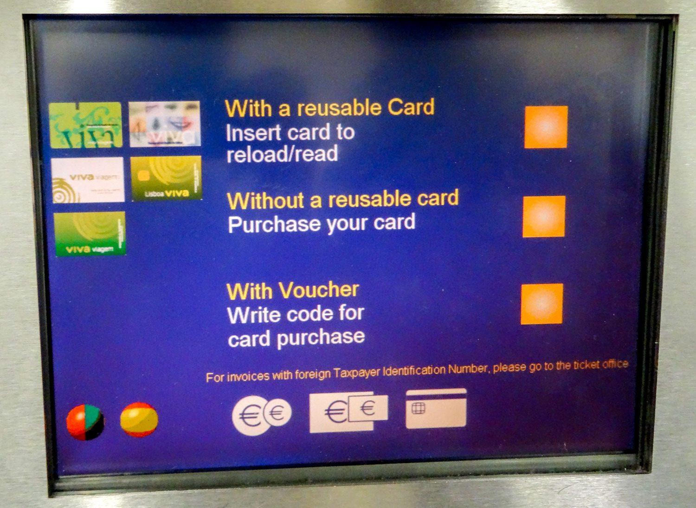Если пока нет карточки, ее придется купить за 50 центов (второй вариант). Если уже есть, выбираете первый вариант