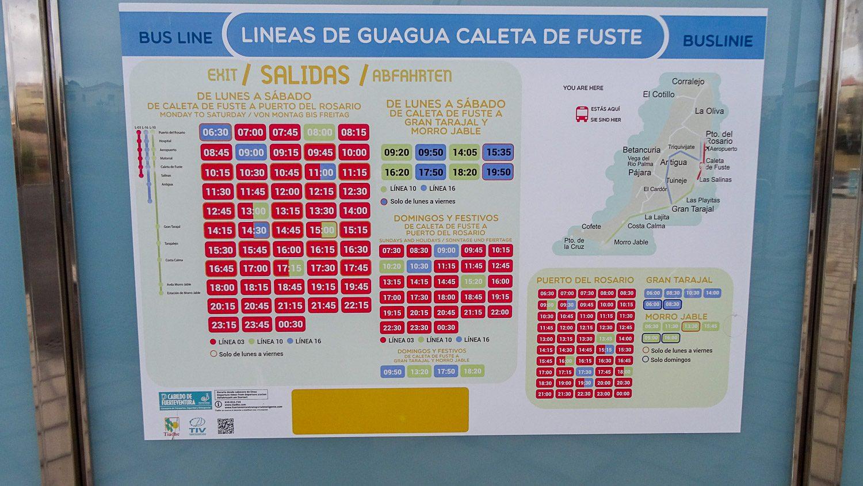 Расписание автобусов из Калеты-де-Фусте в другие города Фуэртевентуры