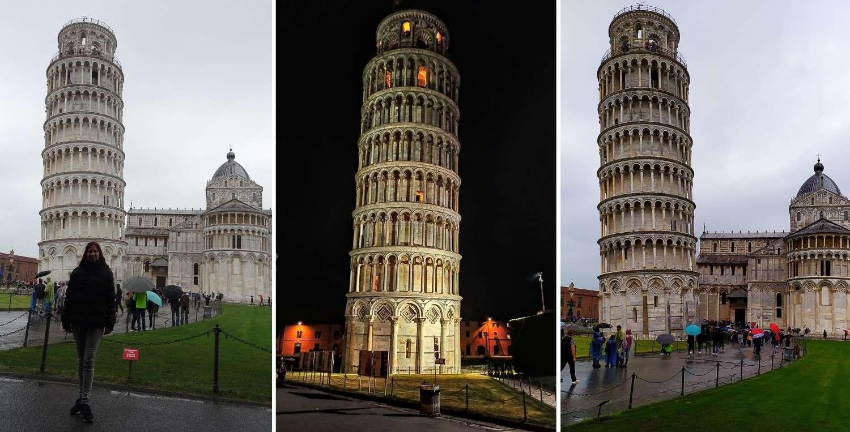 Пизанская башня в разное время суток