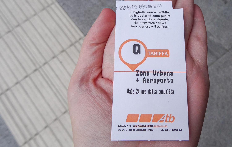 Билет на общественный транспорт в Бергамо