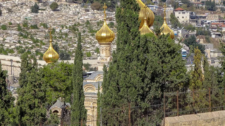 Вид с Елеонской горы на золотые купола