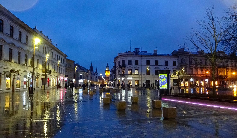 Литовская площадь в огнях