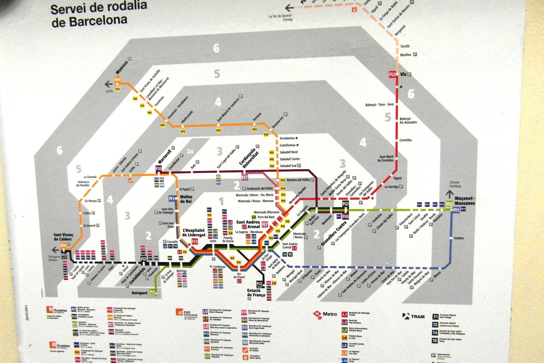 Карта транспортных зон Барселоны и окрестностей
