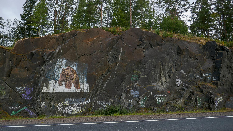 Изображение медведя на скале