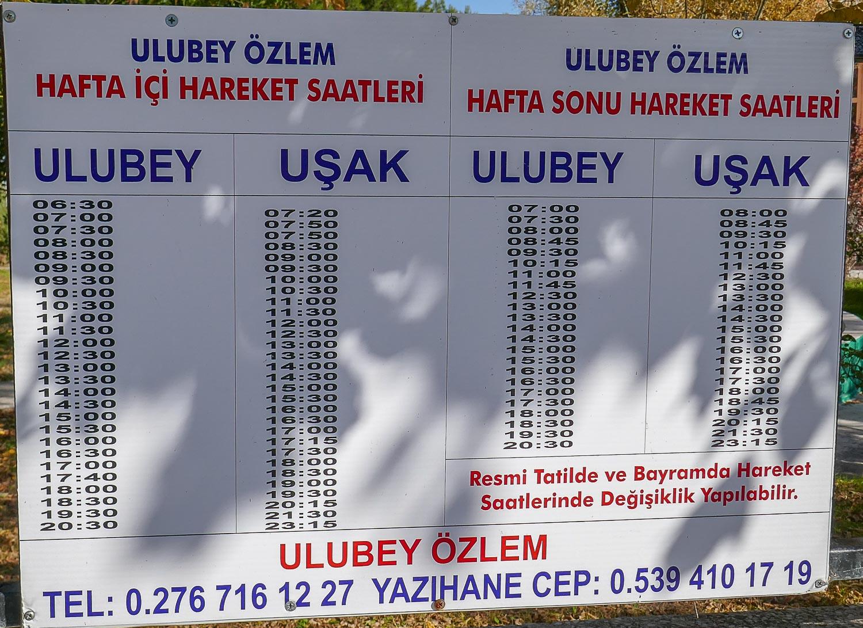 Расписание Улубей - Ушак (и обратно)