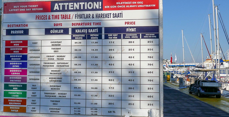 Расписание паромов из Бордума на острова